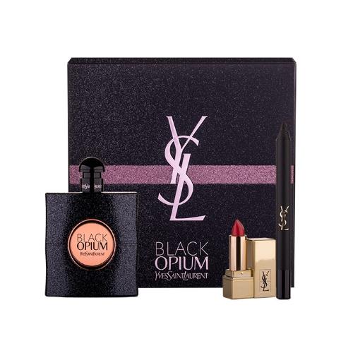 Yves Saint Laurent Black Opium, parfémovaná voda 90 ml + Rtěnka Rouge Pur Couture 1,3 ml odstín 1 + Tužka na oči Eye Pencil Waterproof No.1 0,8 g