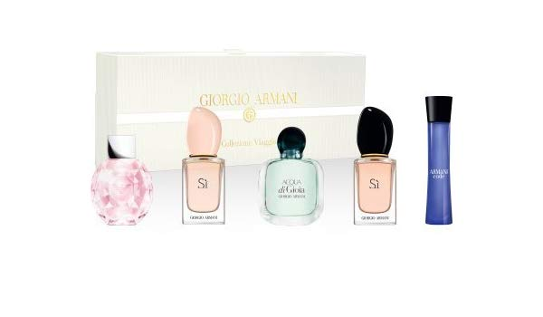 Giorgio Armani Mini SET: Diamonds Rose 5ml EDT + Si 7ml EDT + Acqua di Gioia 5ml EDP + SI 7ml EDP + Code 3ml EDP