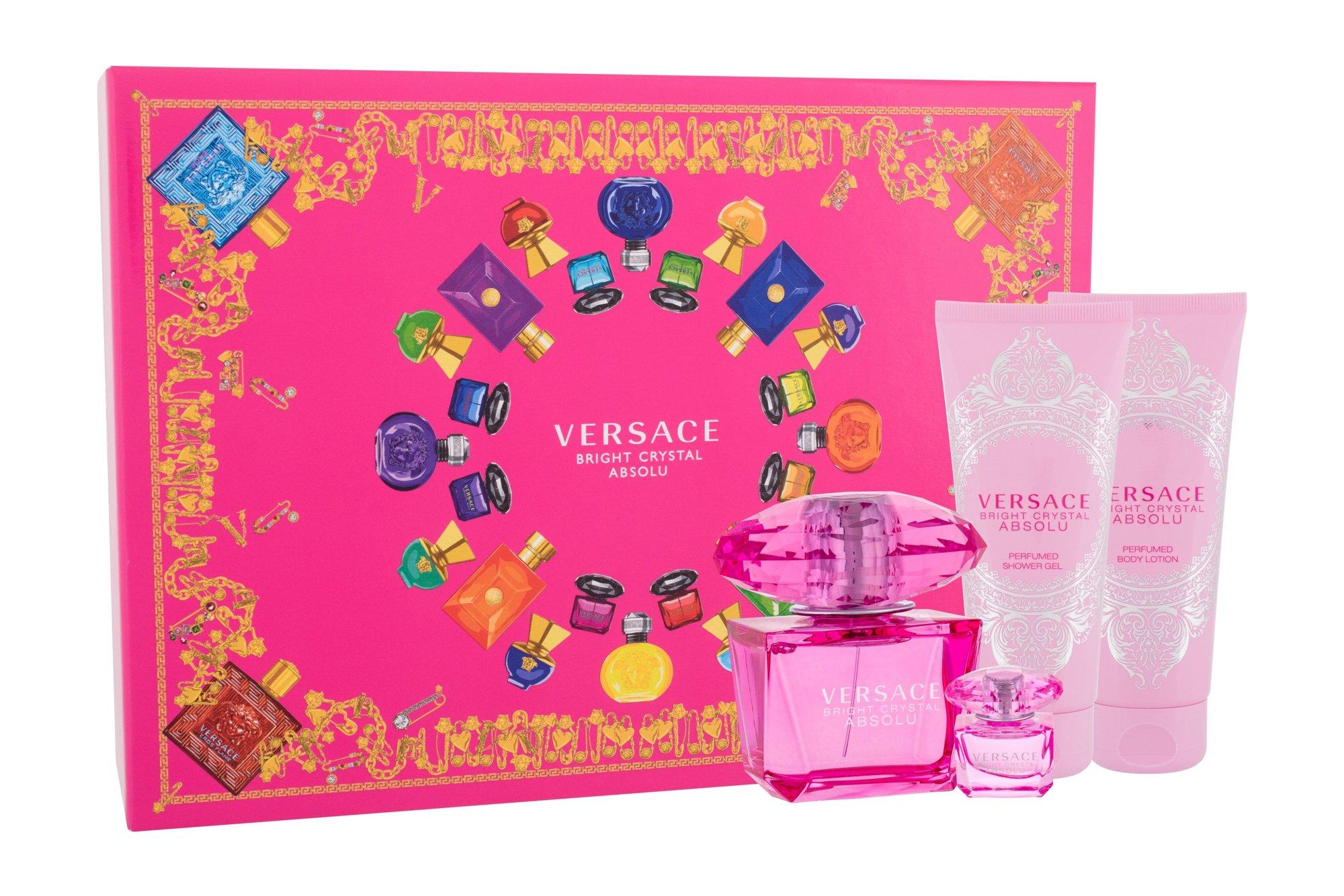 Versace Bright Crystal Absolu, parfumovaná voda 90 ml + sprchovací gél 100 ml + parfumovaná voda 5 ml + telové mlieko 100 ml