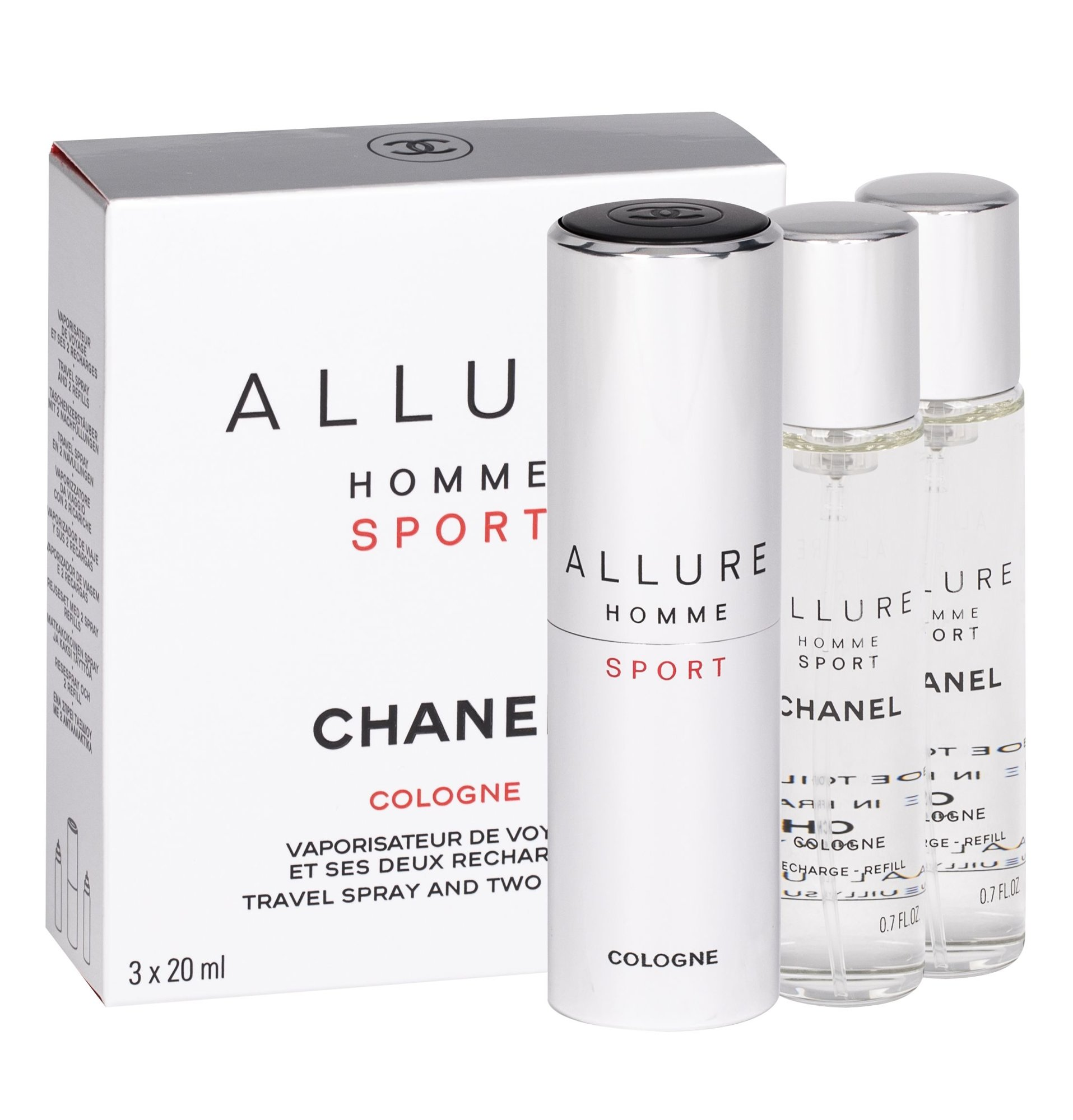 Chanel Allure Homme Sport Cologne, edc 3x20ml, Twist and Spray