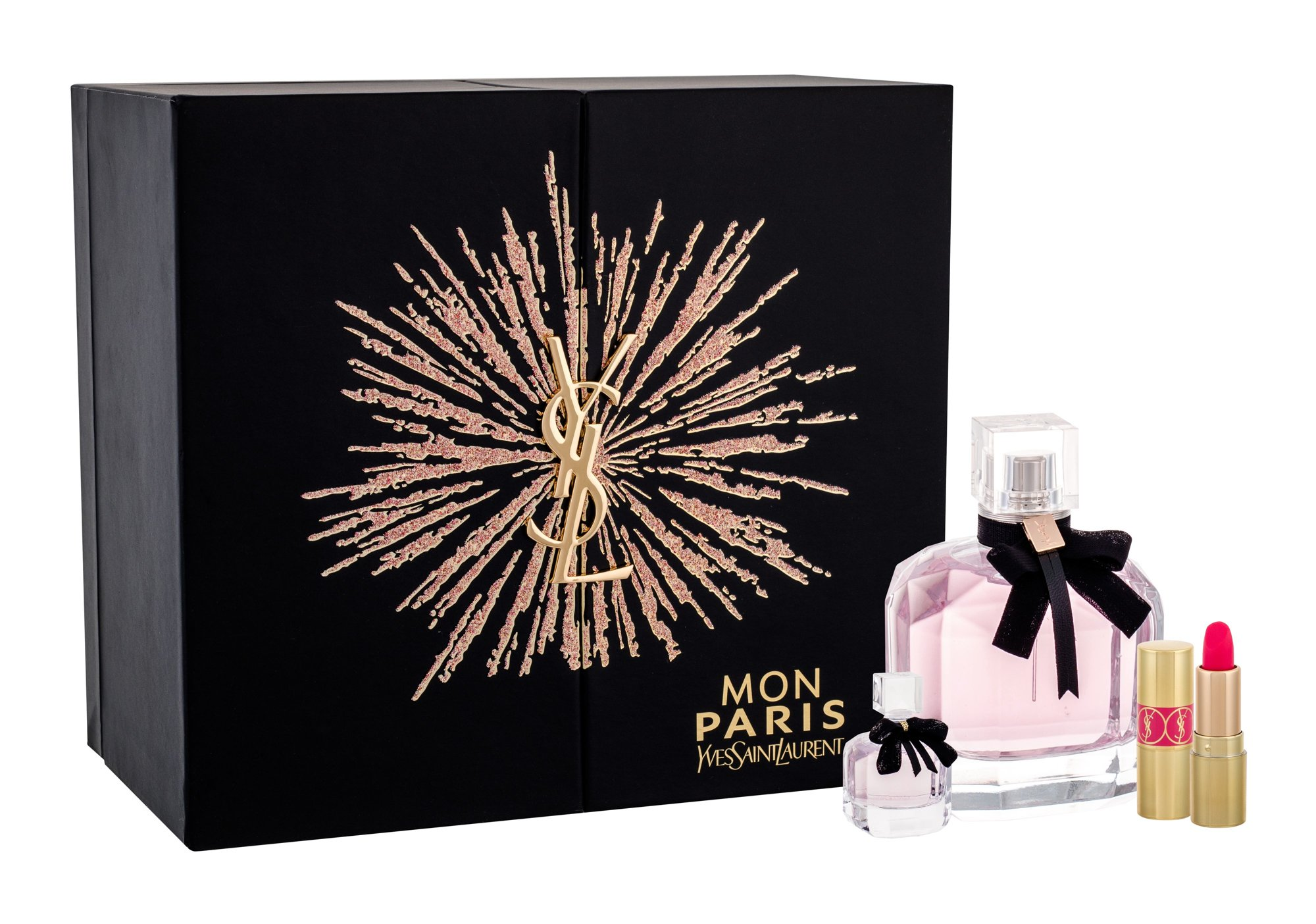 Yves Saint Laurent Mon Paris, parfumovaná voda 90 ml + parfumovaná voda 7,5 ml + rúž Rouge Volupte Shine N. 49