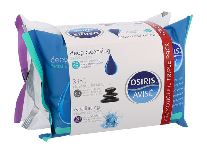 Xpel Osiris, Osiris Deep Cleansing Facial Wipes 25 ks + Osiris 3in1 Cleansing Facial Wipes 25 ks + Osiris Exfoliating Cleansing Wipes 20 ks