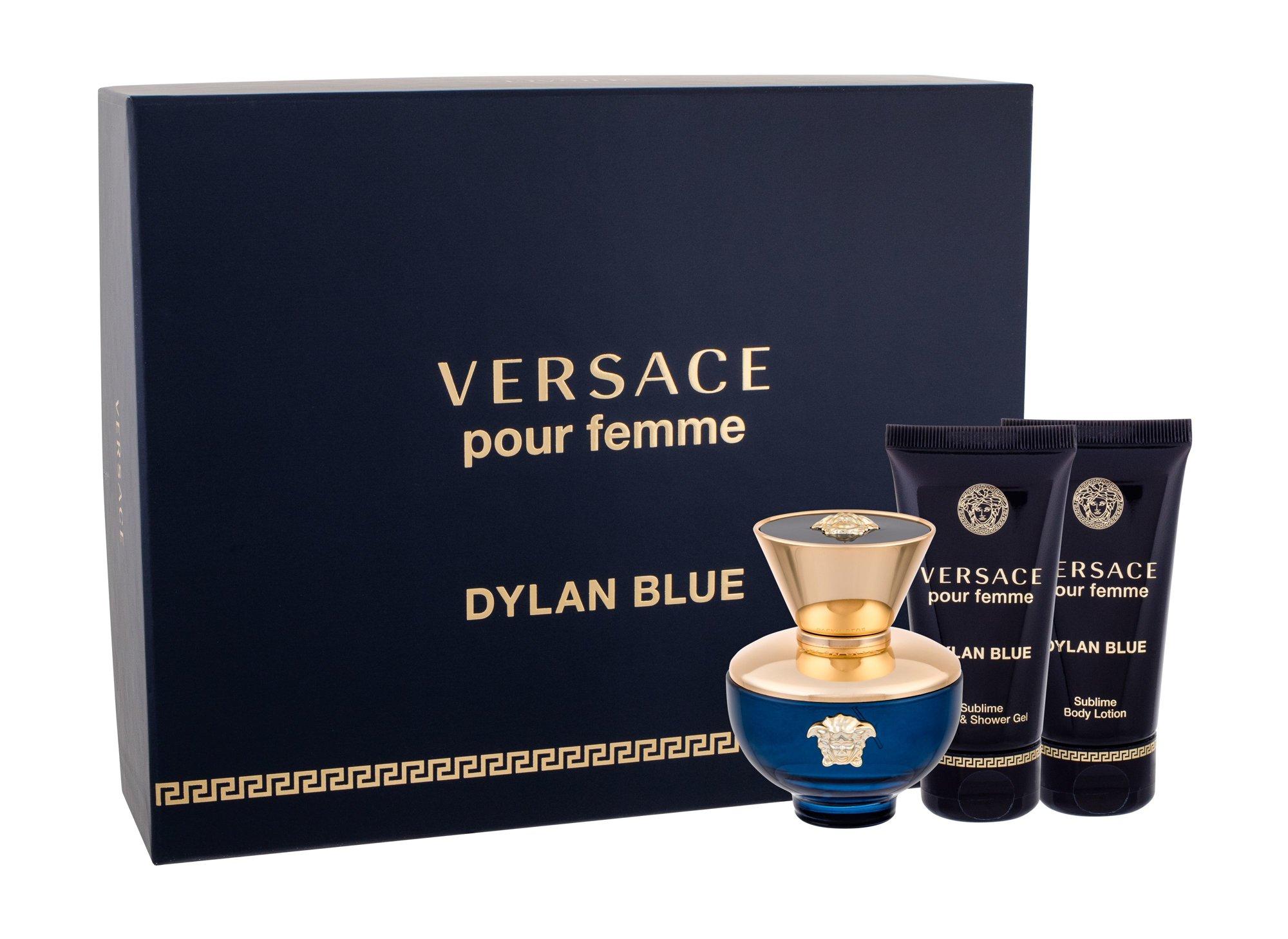 Versace Pour Femme Dylan Blue, parfumovaná voda 50 ml + telové mlieko 50 ml + sprchovací gél 50 ml
