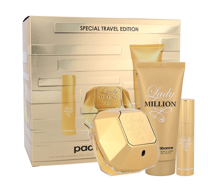 Paco Rabanne Lady Million, parfumovaná voda 80 ml + telové mlieko 100 ml + parfumovaná voda 10 ml