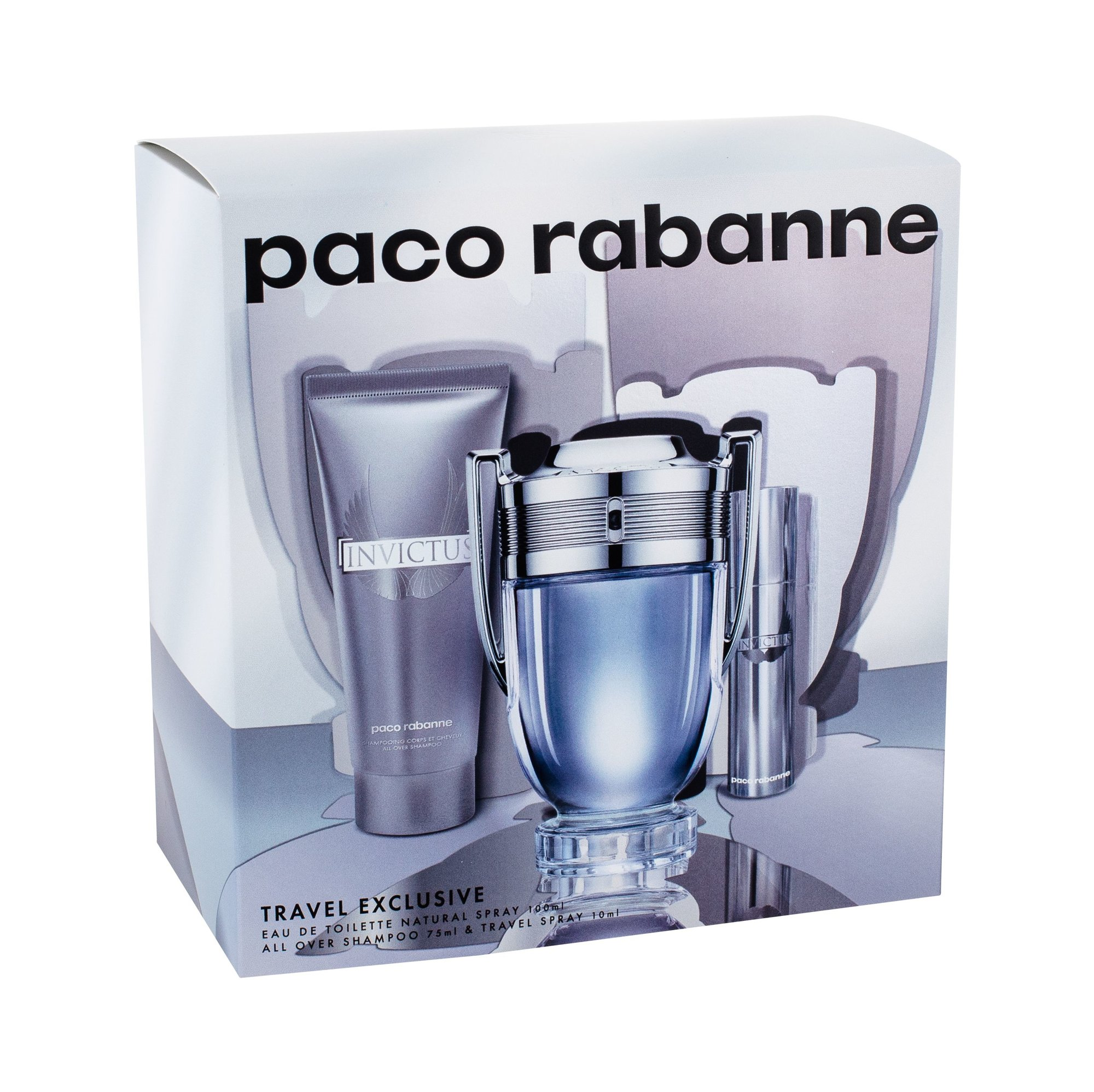 Paco Rabanne Invictus, toaletná voda 100 ml + toaletná voda 10 ml + sprchovací gél 75 ml
