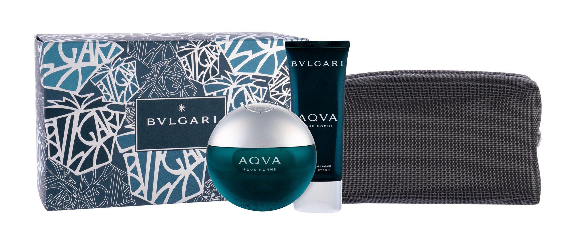 Bvlgari Aqva Pour Homme, toaletná voda 100 ml + balzam po holení 100 ml + kozmetická taška