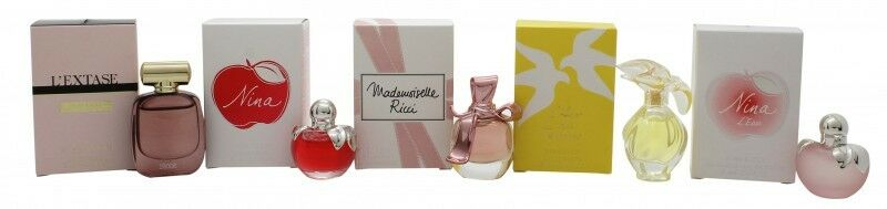 Nina Ricci Mini SET: L´Extase 4ml EDP + Nina 4ml EDT + Mademoiselle Ricci 4ml EDP + L´Air du Temps 4ml EDT + Nina L´eau fraiche 4ml EDT