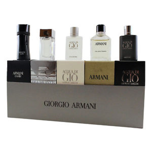 Giorgio Armani Mini SET: Armani Black Code 4ml EDT + Diamonds for Men 4ml EDT + Acqua di Gio 5ml EDT + Eau pour Homme 7ml EDT + Acqua di Gio Profumo 5ml EDP